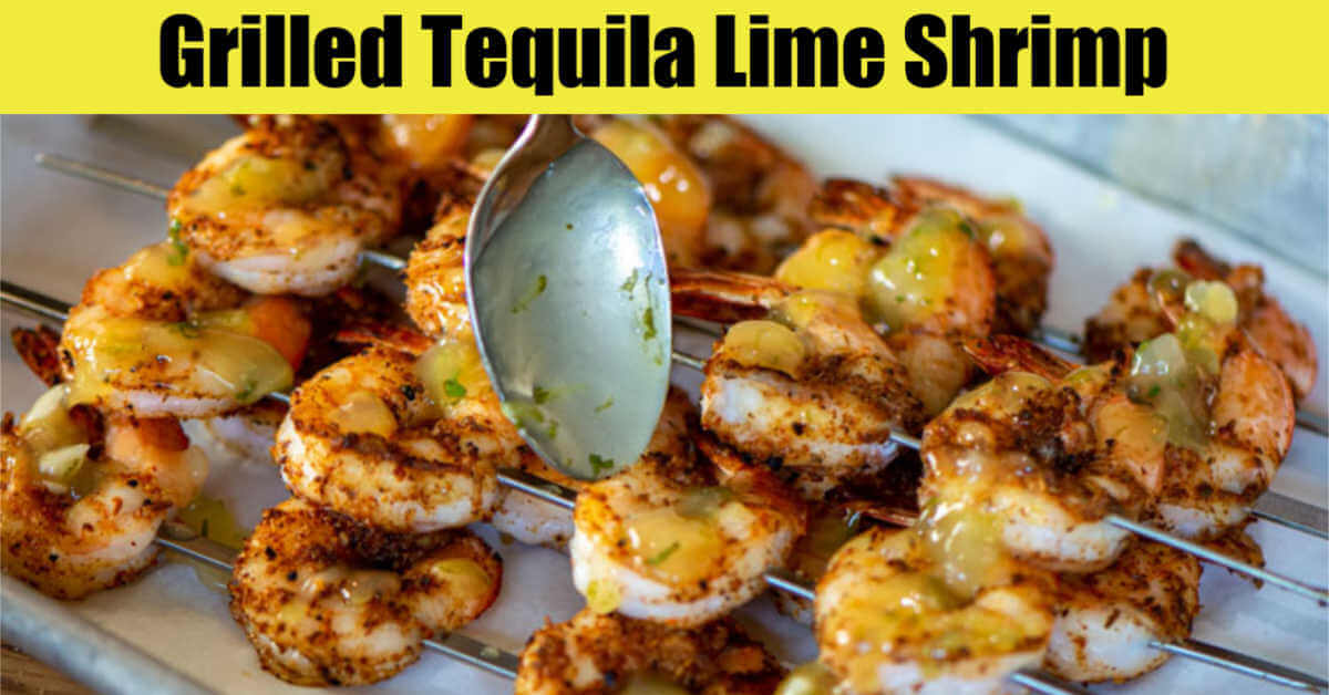 a bright tequila lime sauce being drizzled on skewers of grilled shrimp