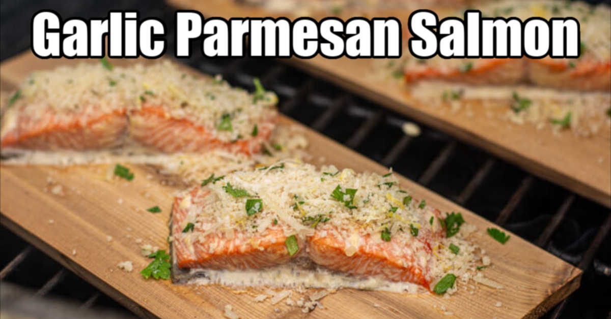 garlic Parmesan crust on the salmon filet on a cedar plank