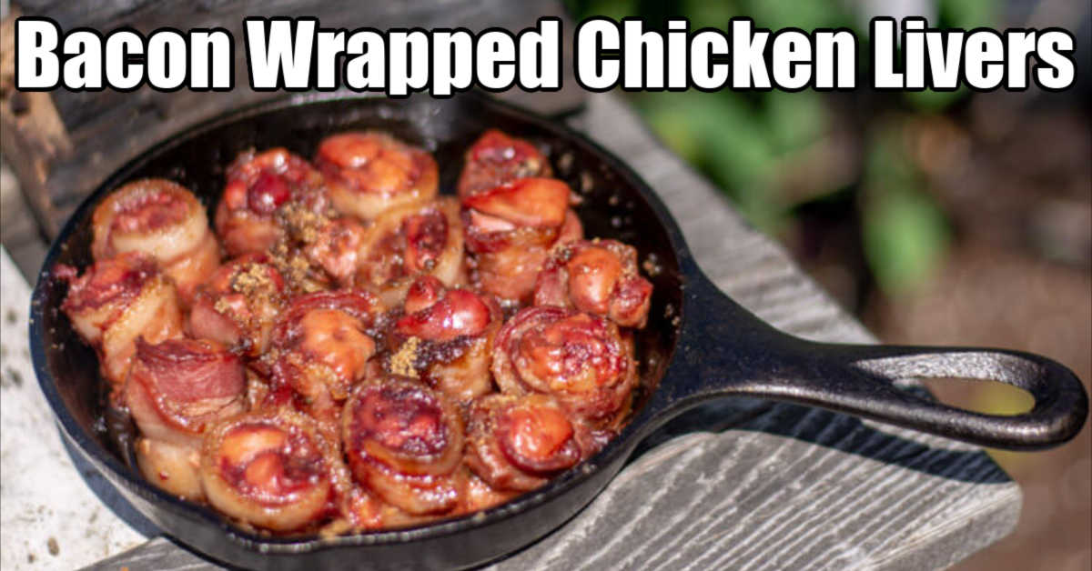 small cast iron skillet loaded with lovers wrapped in bacon and a hint of brown sugar on top
