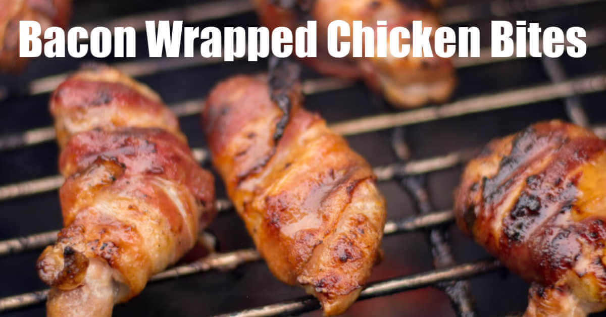bacon wrapped chicken on the grill with a light honey mustard glaze