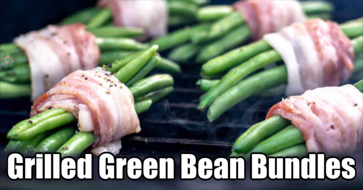 bacon wrapped green bean bundles on the grill