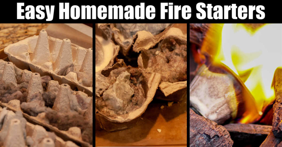 three photos side by side of the process of using wax and egg cartons to make a fire starter