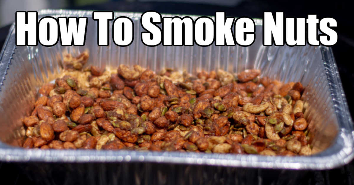 disposable pan filled with seasoned nuts ready for smoking