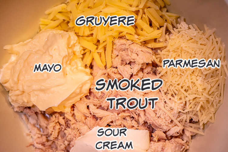 Ingredients of the smoked trout dip in a bowl and labeled