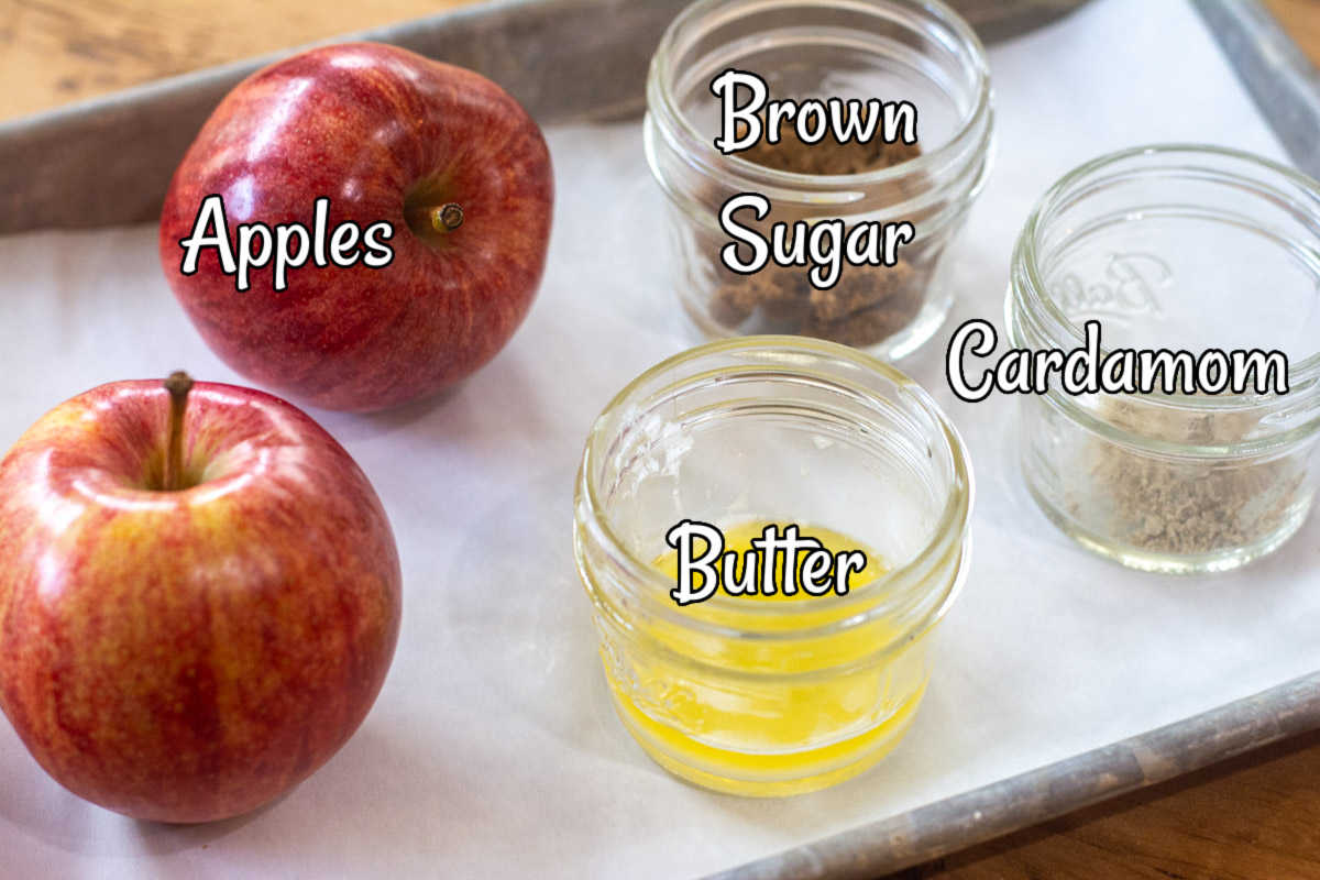 sheet pan with the simple ingredients to make a delicious grilled apple dessert