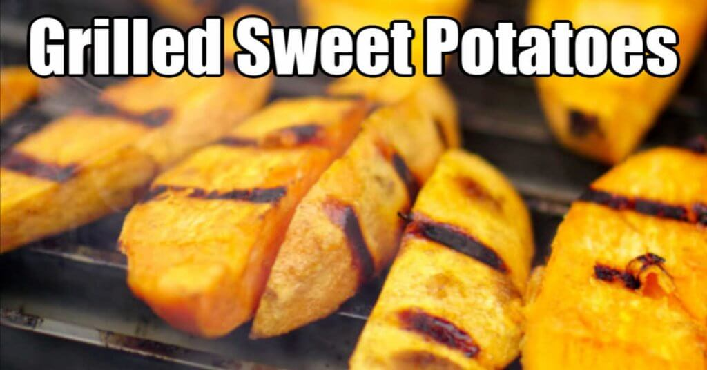 sweet potato wedges on the grill with nice sear marks