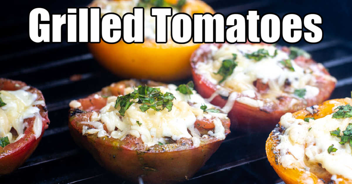 grilled tomato halves on the GrillGrate with melted cheeses and basil