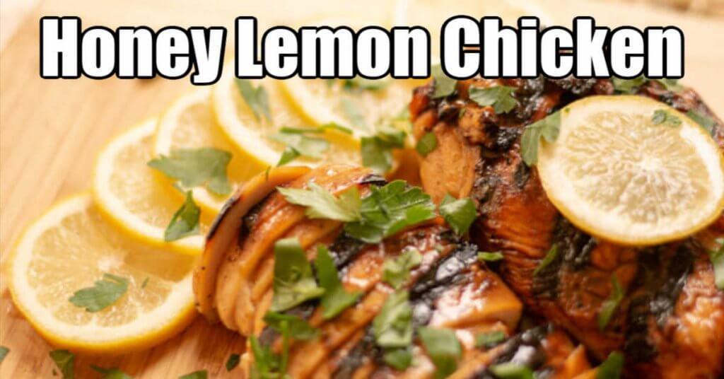 honey lemon chicken on a cutting board