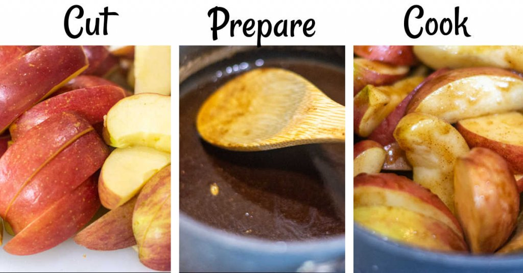 three images showing the apples being cut and coated with the cinnamon and nutmeg to be cooked on the stove top