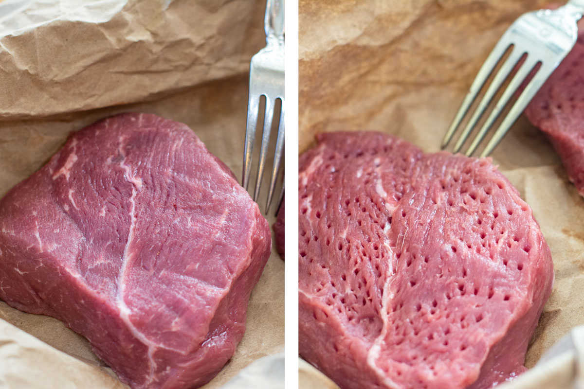 two photos with the ranch steak and then after it is tenderized using the fork method.