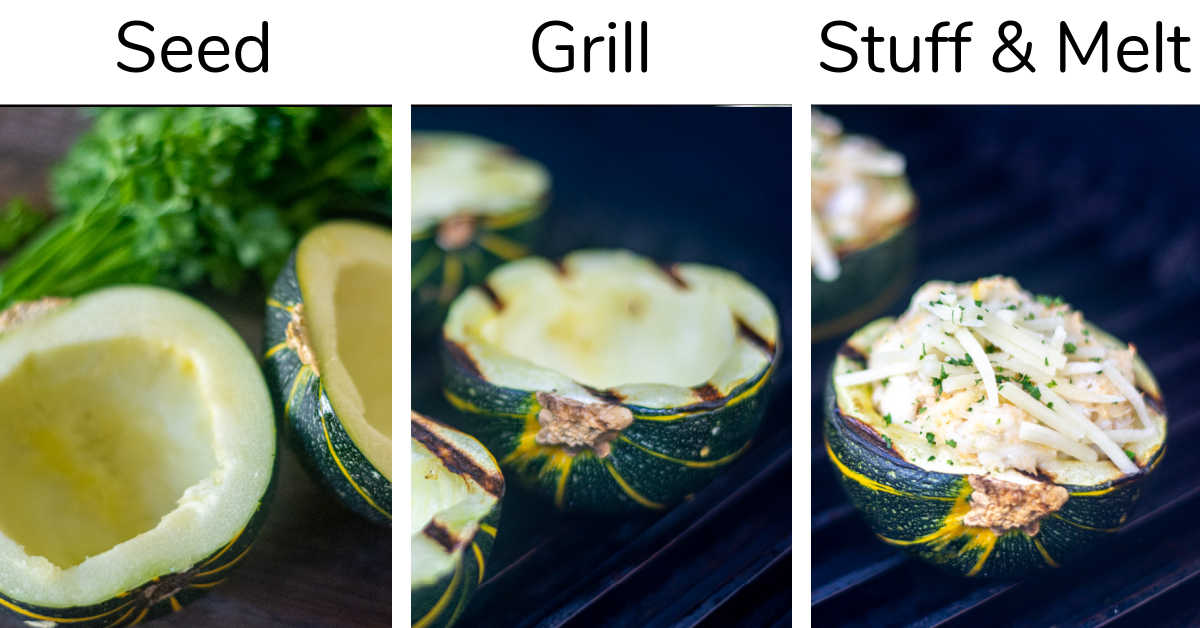 three process shots showing the seeded squash, having it grilled to soften, and then stuffed with seafood and heated through