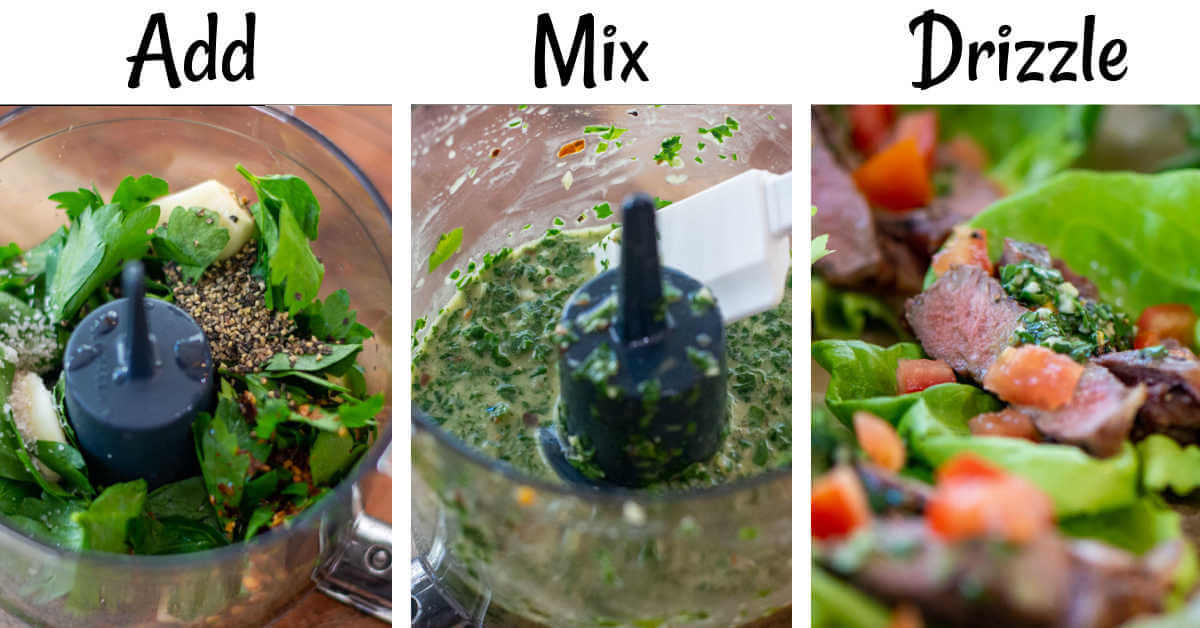 three photos showing how to make Chimichurri including adding the ingredients to a food processor, pulsing it to a sauce, and then adding it to the lettuce wraps.
