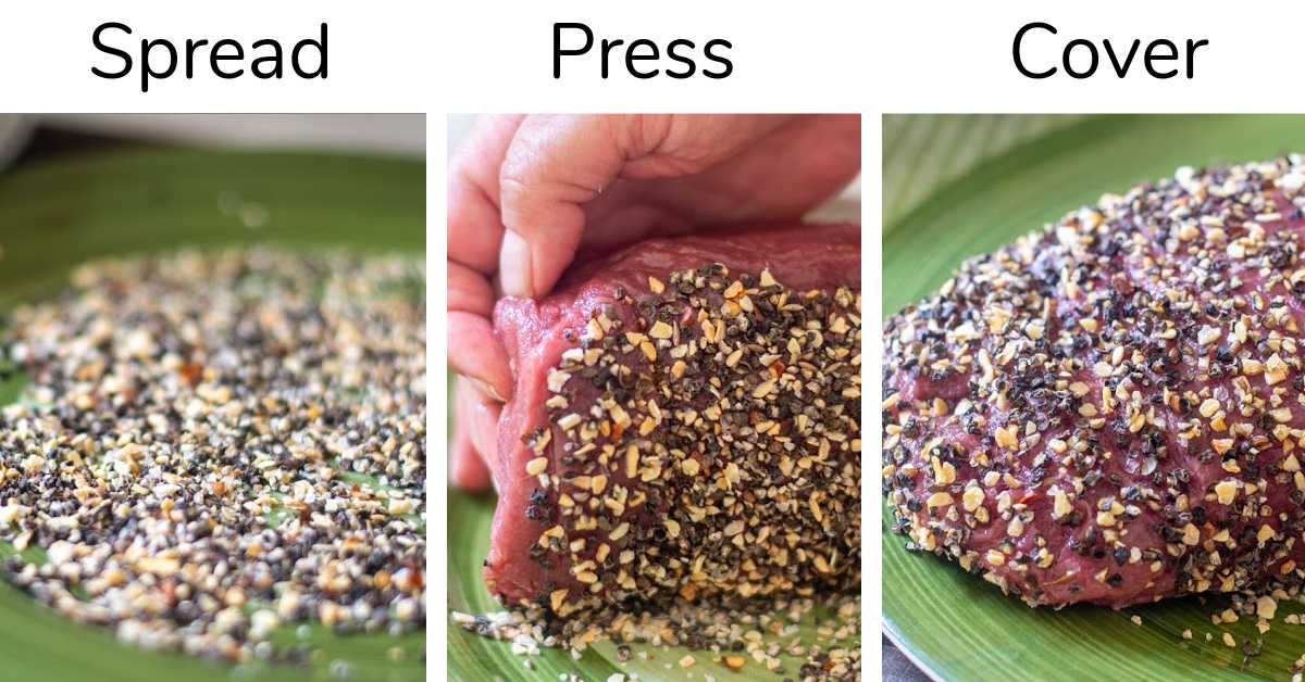 three photos showing the cracked peppercorn on a plate, an eye round roast being rolled on it, and the completed covered roast