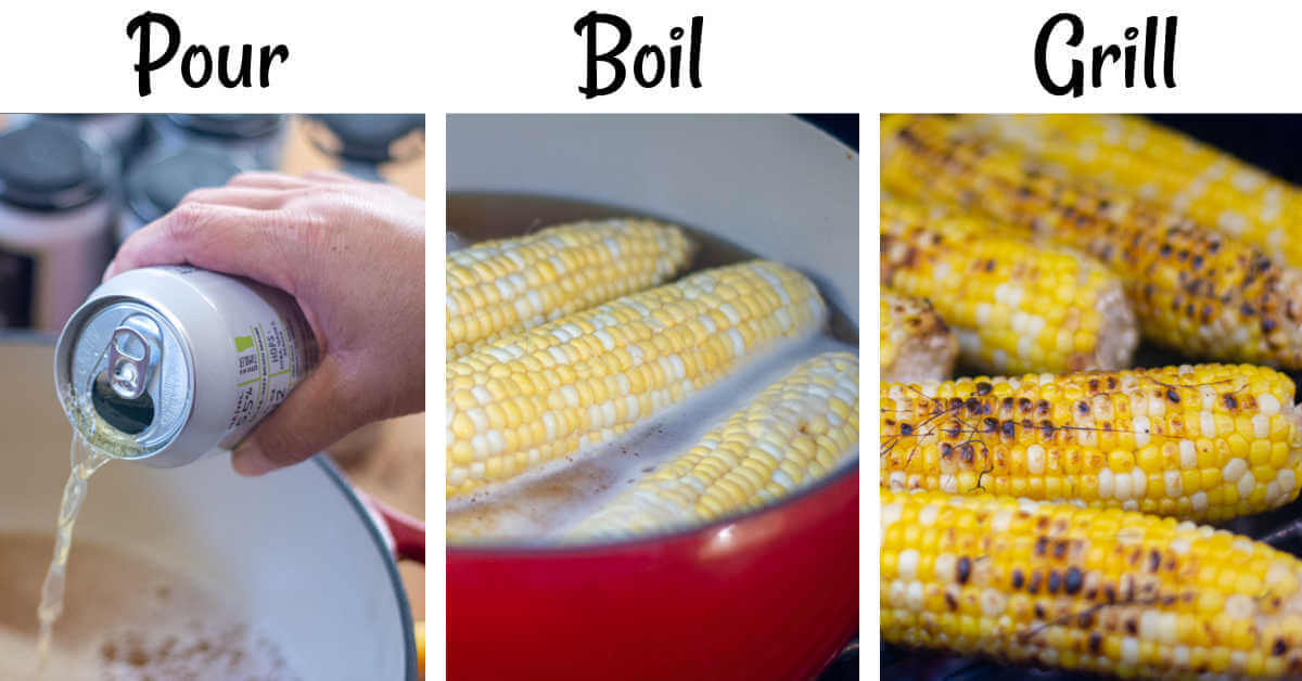 three photos showing pouring the beer in the dutch oven, boiling the ears of corn in beer and then grilling them straight on the grill grate