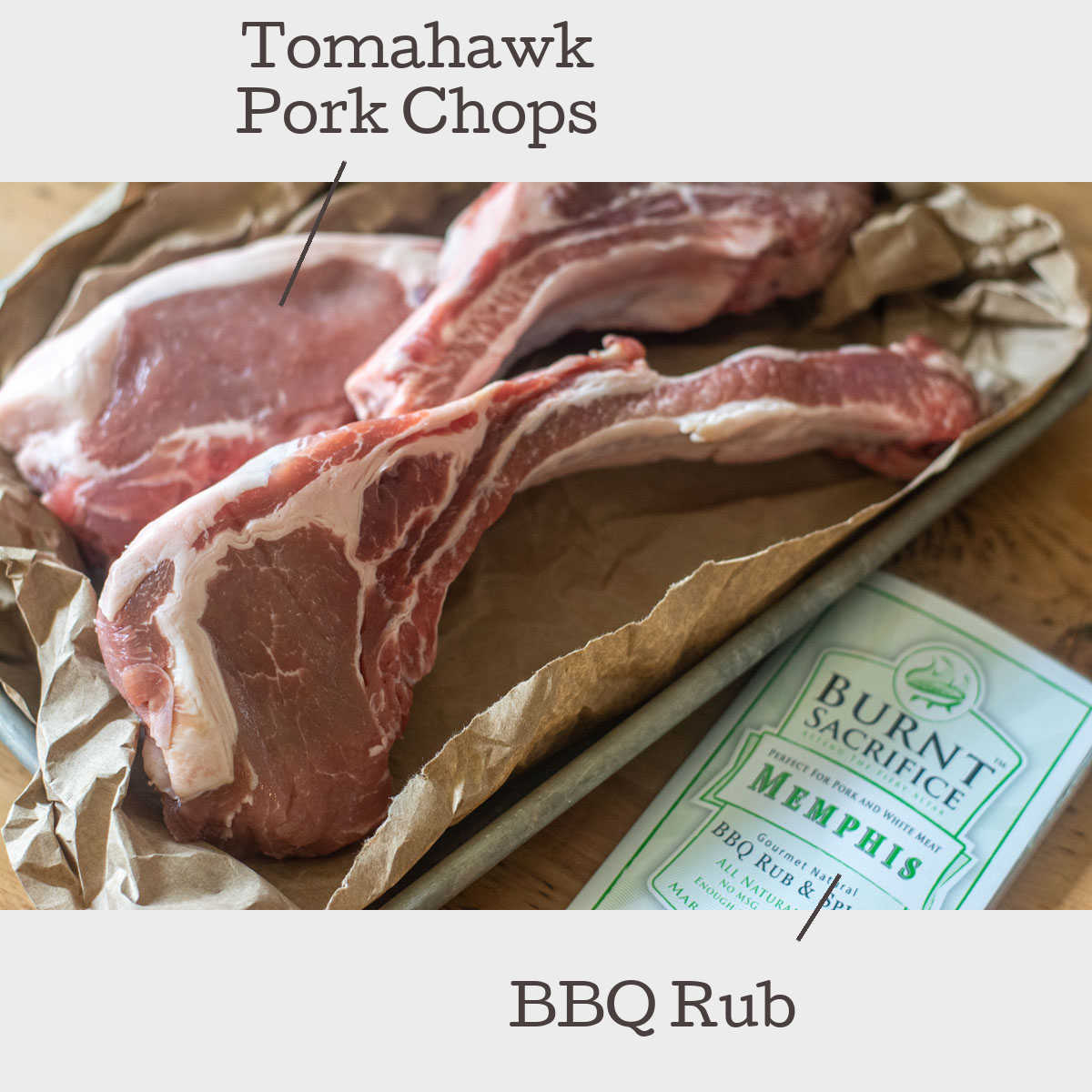 two ingredients laid out on sheet pan for the tomahawk pork chops