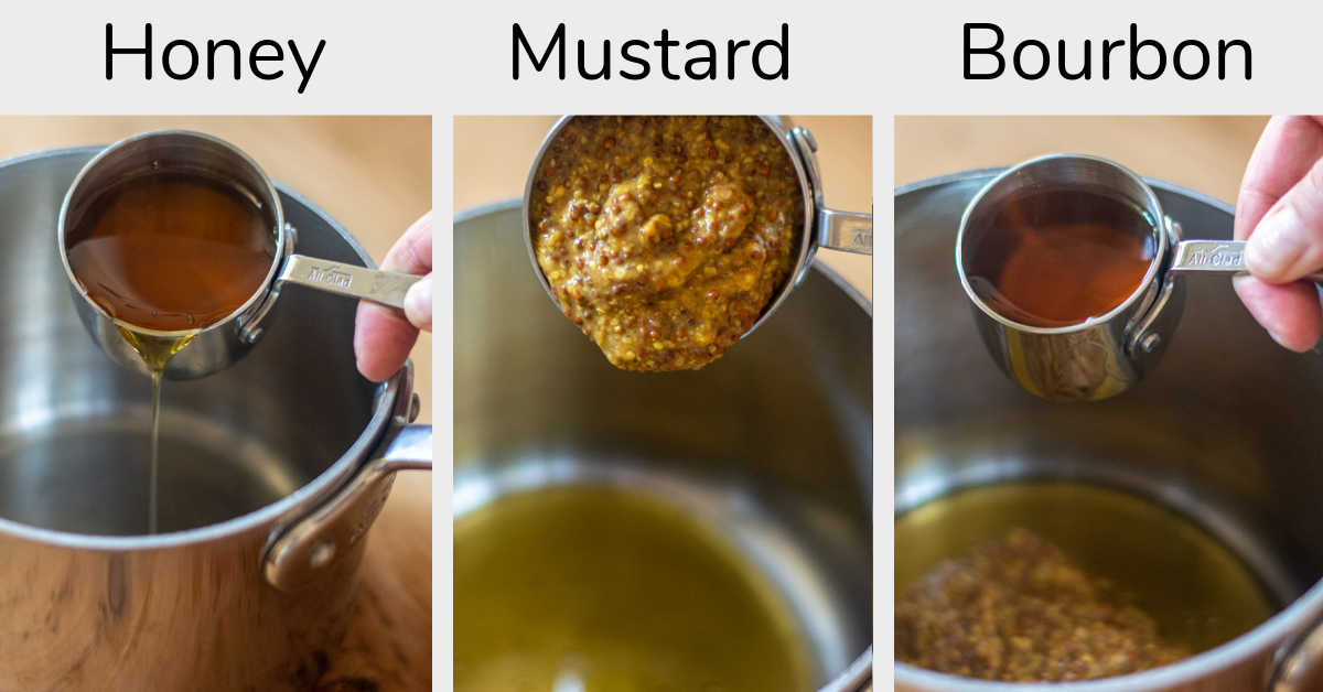 three photos showing the ingredients being added to a pot for the honey mustard glaze