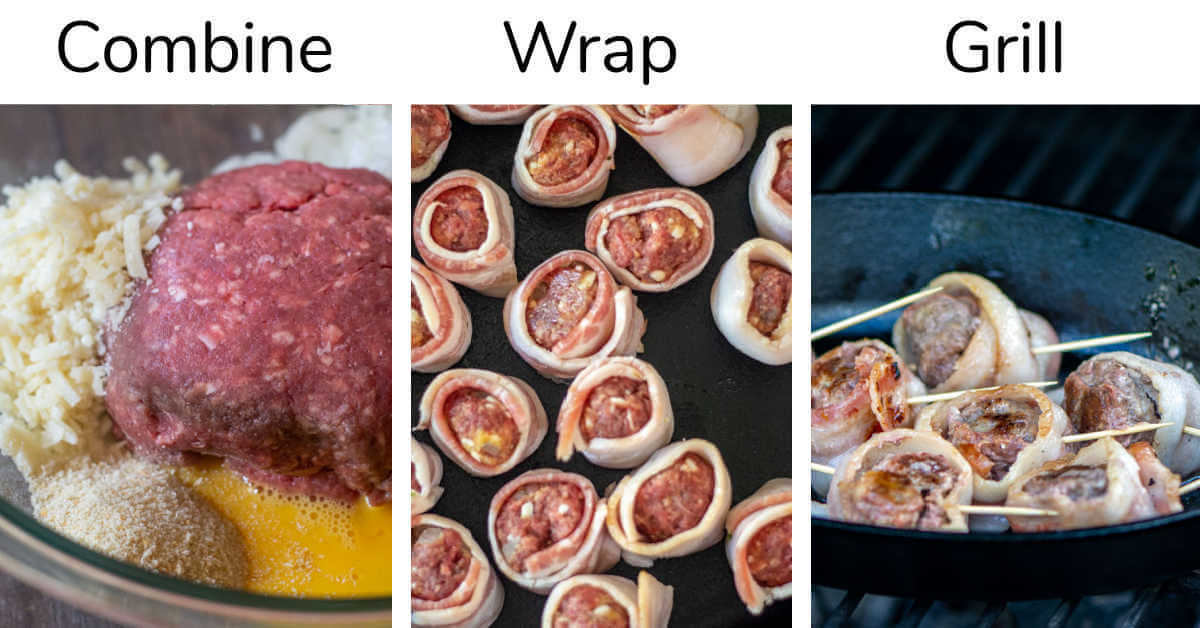 three photos showing how to make meatballs by combining the ingredients, wrapping them in bacon and then grilling