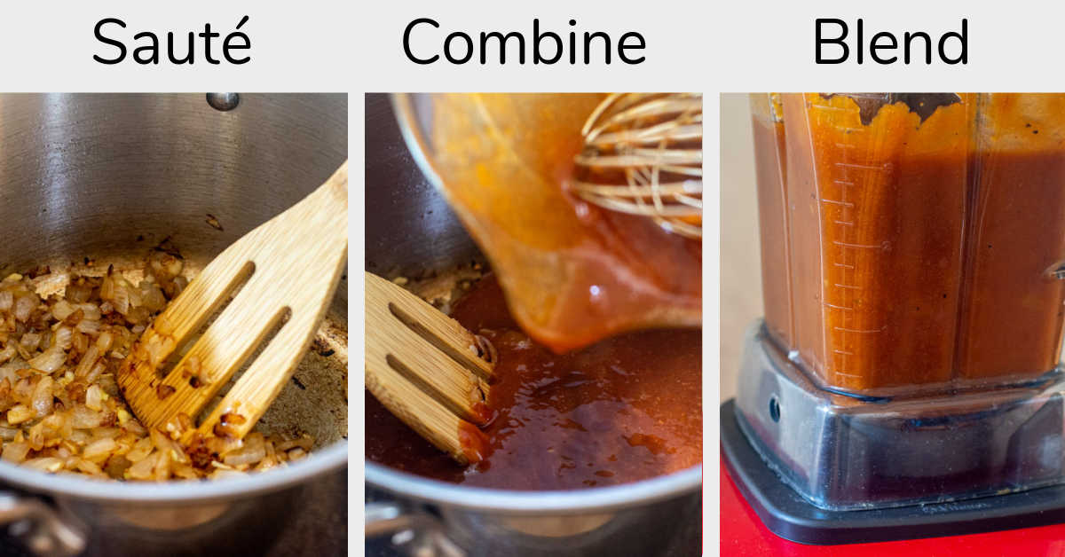 three steps to make the BBQ sauce, including sautéing, mixing all the ingredients and then blending