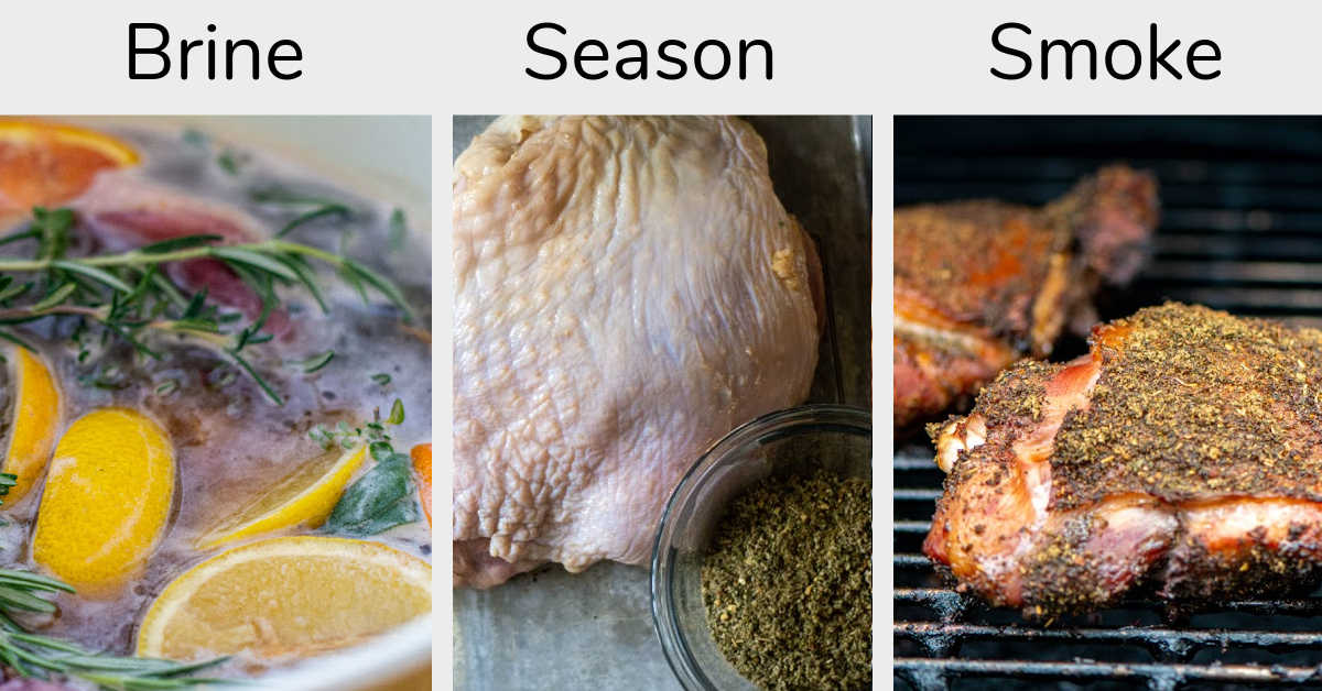 compilation of three photos showing the turkey in the brine, being seasoned with poultry seasoning and then smoked on the grill