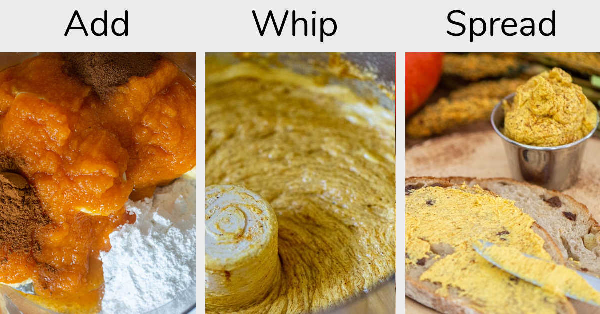 three photos showing all of the ingredients in a food processor, as it is being whipped, and then spreading it on a slice of bread
