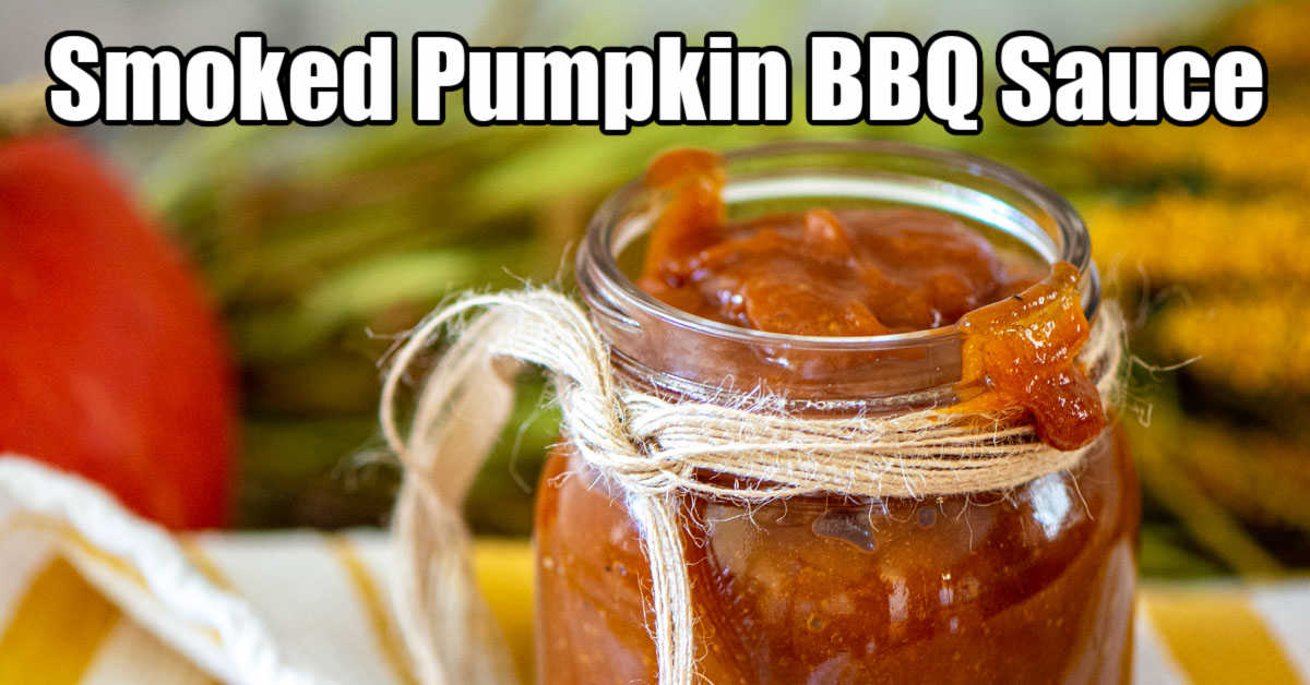 decorative jar filled with a rich bourbon and smoked pumpkin BBQ sauce