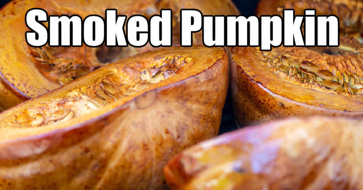 closeup of the smoked pumpkins with text overlay