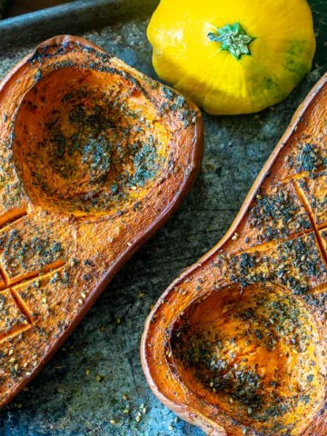 herb covered smoked butternut squash