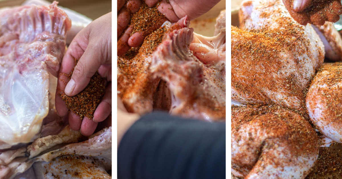 three photos showing adding the Yucatan dry rub to the butterflied turkey.