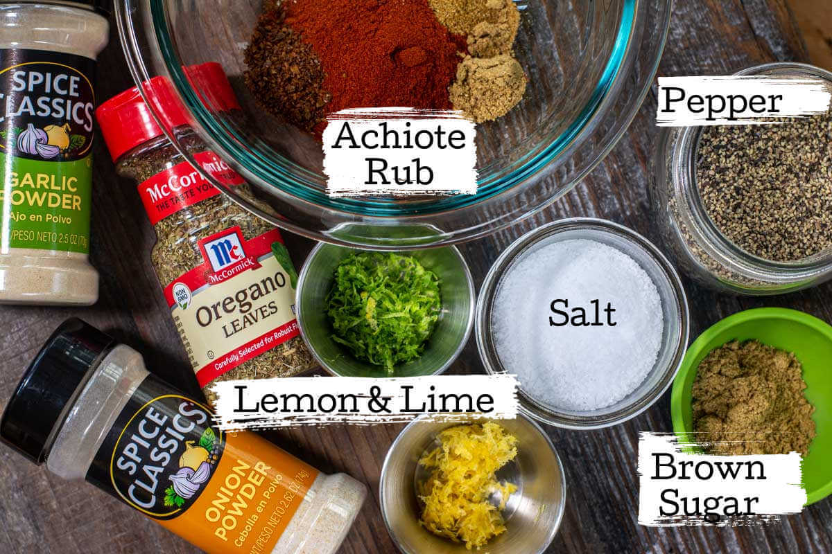 ingredients for the Yucatan Turkey Rub on a Wooden Tray.