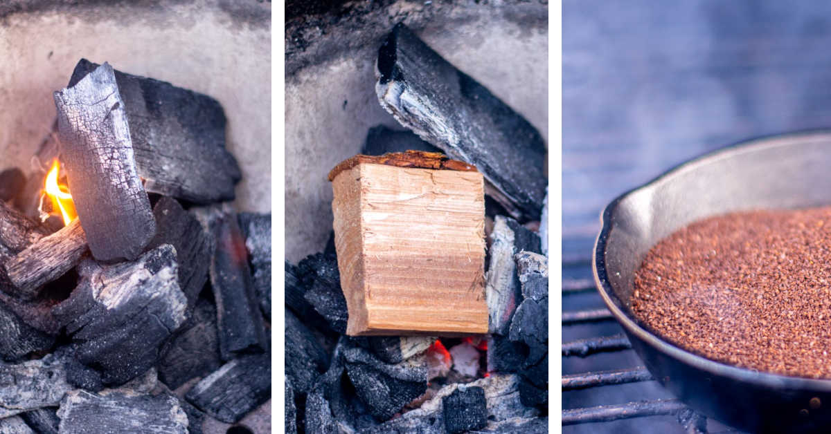 three photos showing how to set a small fire in the grill and placing the smoking wood on top.