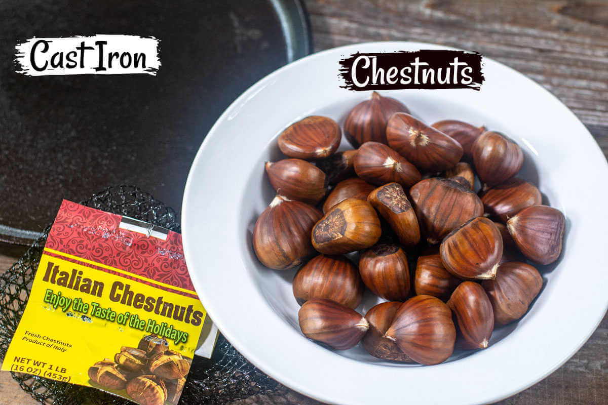 bowl of Italian chestnuts and the cast iron dish to roast them in