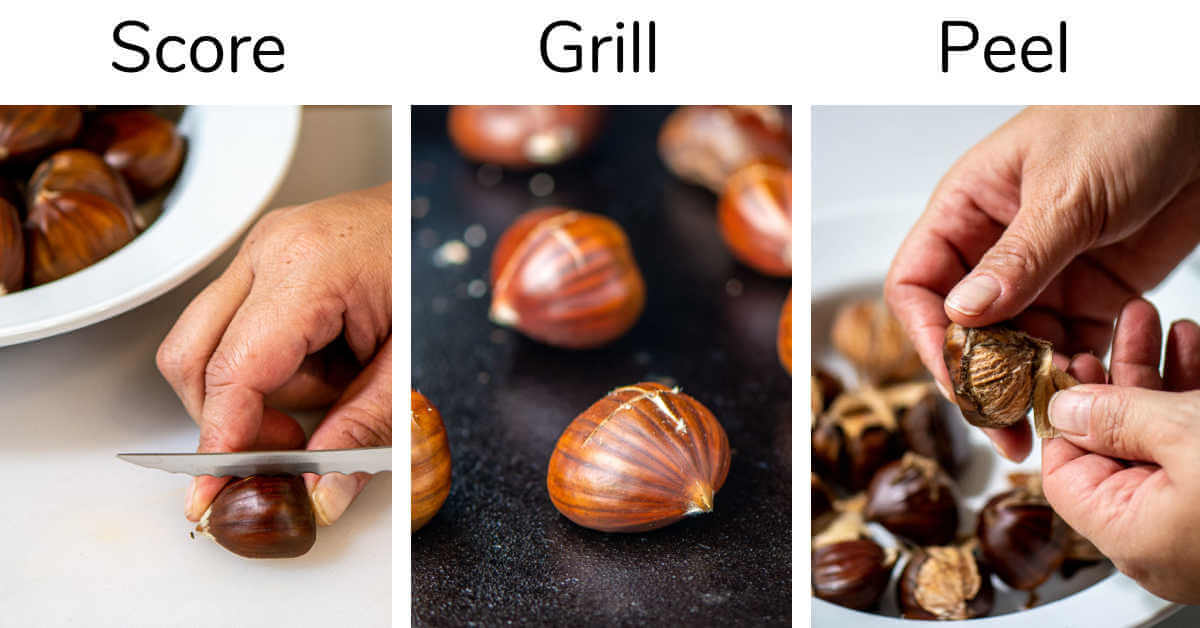 three process shots showing cutting an X into the shells, adding the chestnuts to the grill and then peeling them