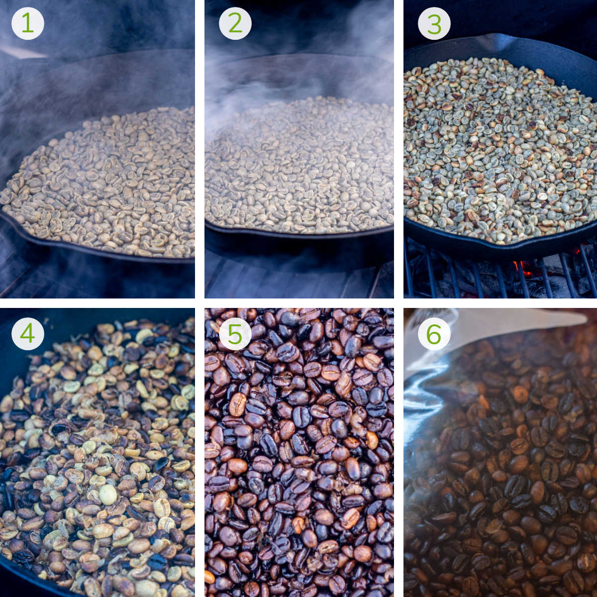six steps to smoke coffee beans, roast them to a deep, rich brown color and storing them in a plastic ziploc bag.