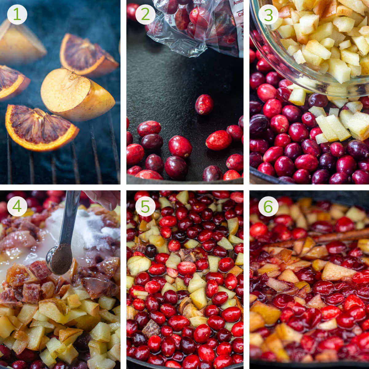 six process shots showing how to smoke the fruit, combine it all in a skillet, and grill it until it thickens.