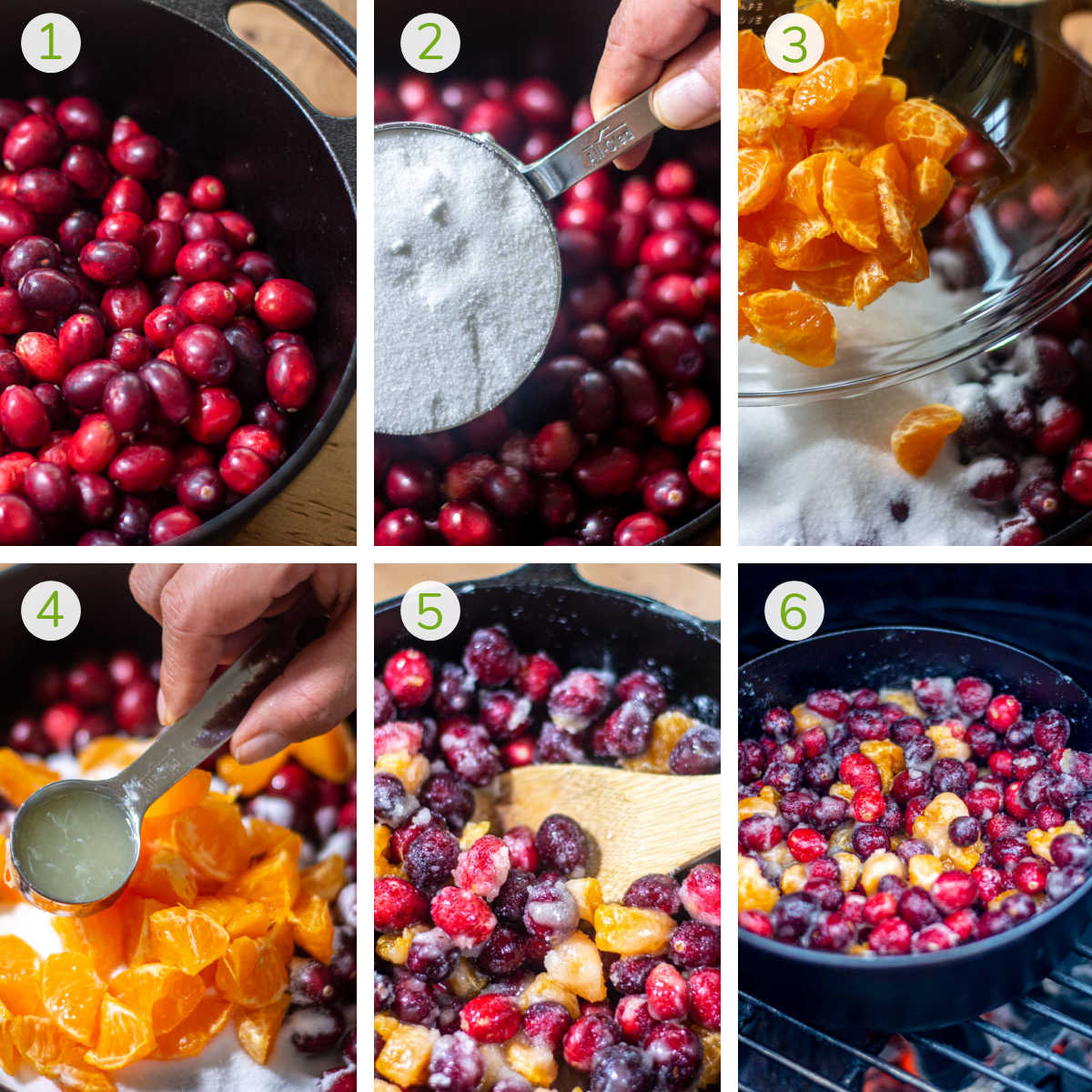 six steps to ad cranberries, sugar, clementines, lemon juice, mixing and grilling