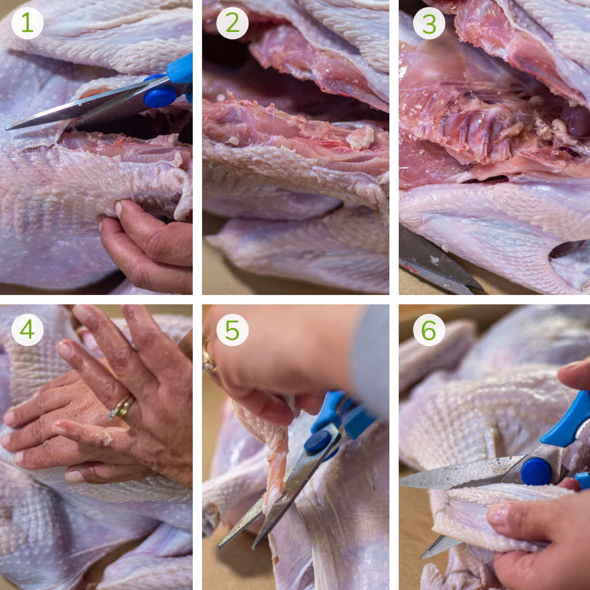 six photots showing how to butterfly the turkey by removing the spine and trimming the excess skin.