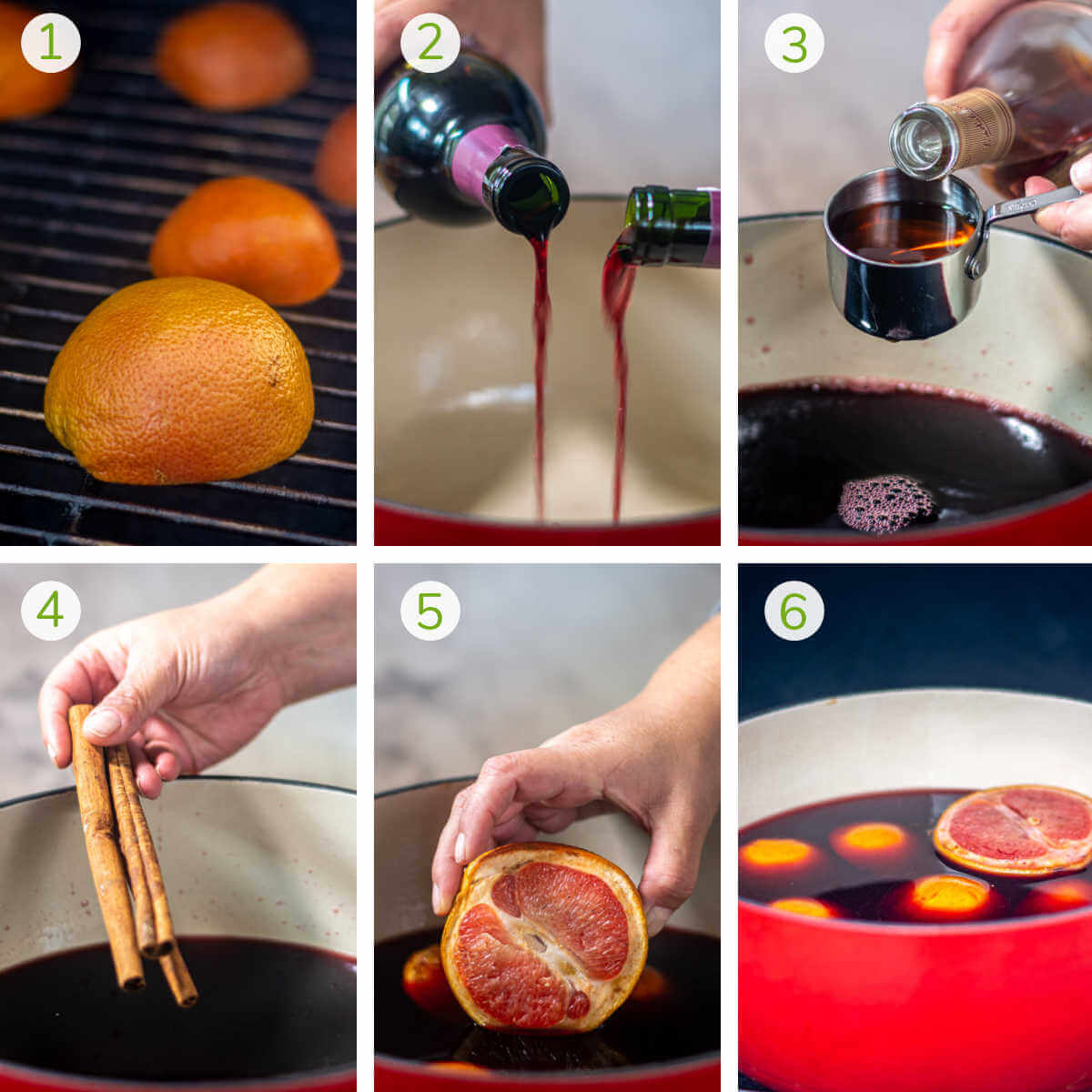 process shots showing the smoking of the citrus, adding the wine and cognac to the dutch oven with spices.
