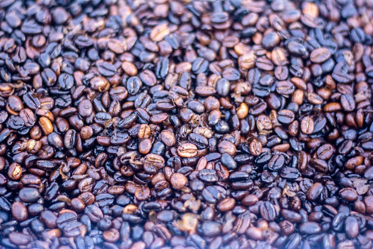 closeup of the roasted coffee beans after removing from the grill.
