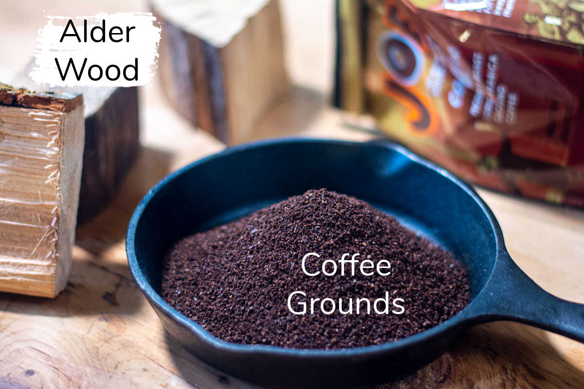 ingredients to smoke coffee grounds including the alder wood.