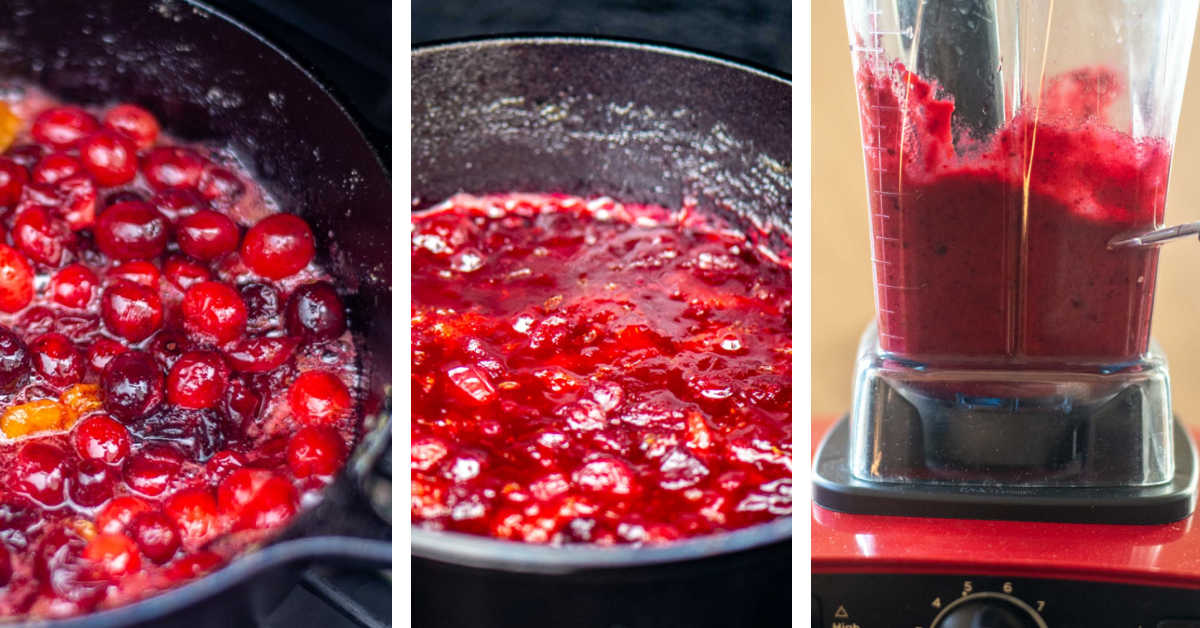 three process shots showing the cranberries cooking in the skillet and then being blended smooth.