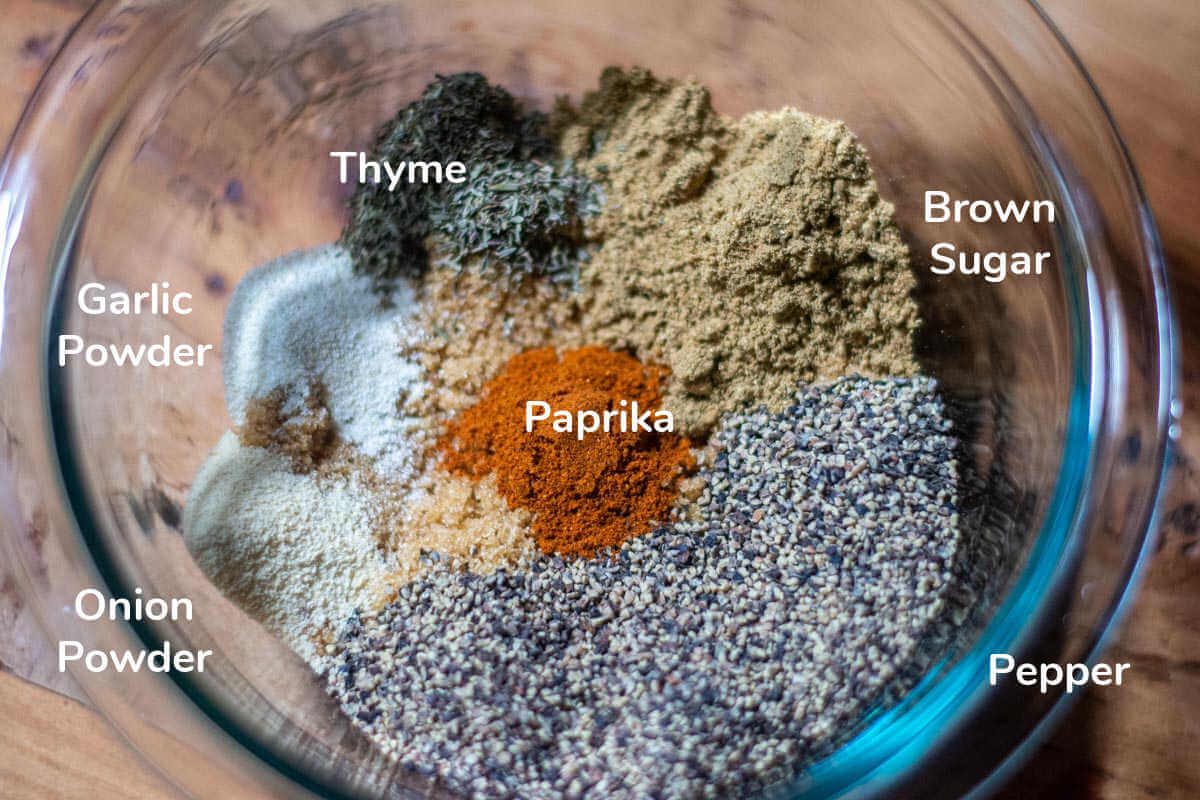 top down view of the ingredients for the pepper crust with labels.