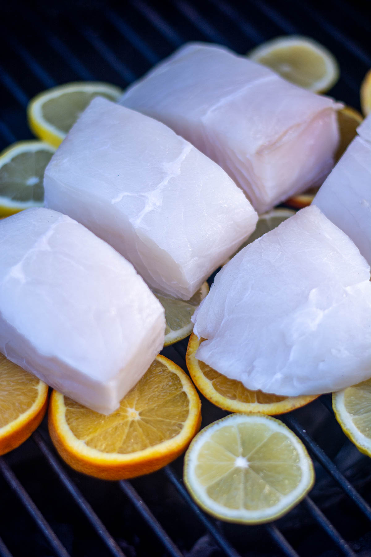 halibut on a bed of lemons and oranges.