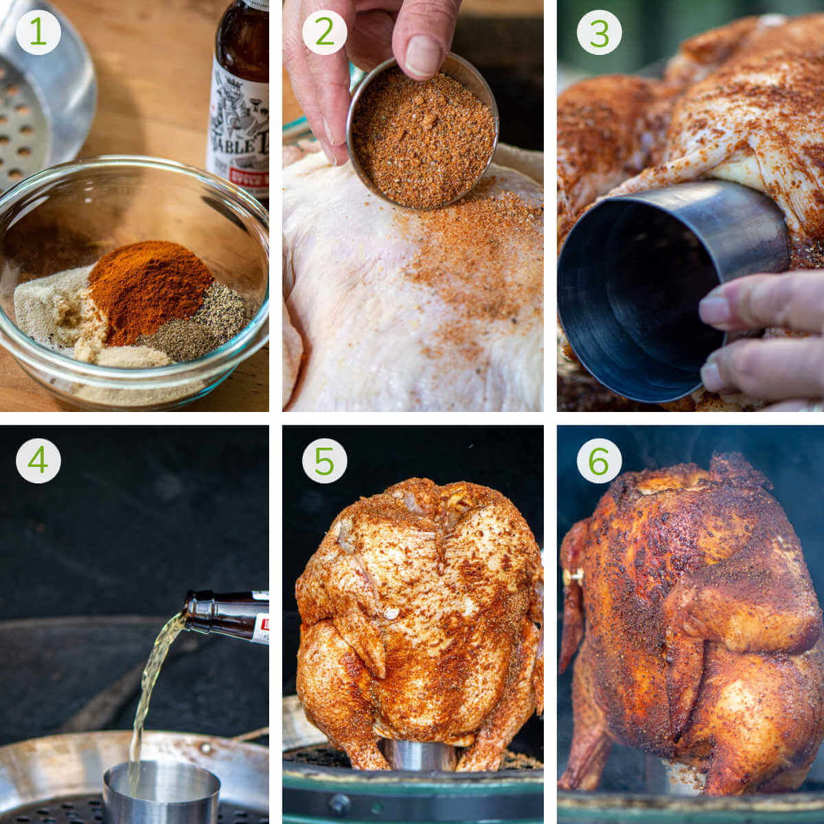 six process steps to make the dry rub, coat the chicken, insert the beer holder, pour the beer and roast the chicken on the grill.