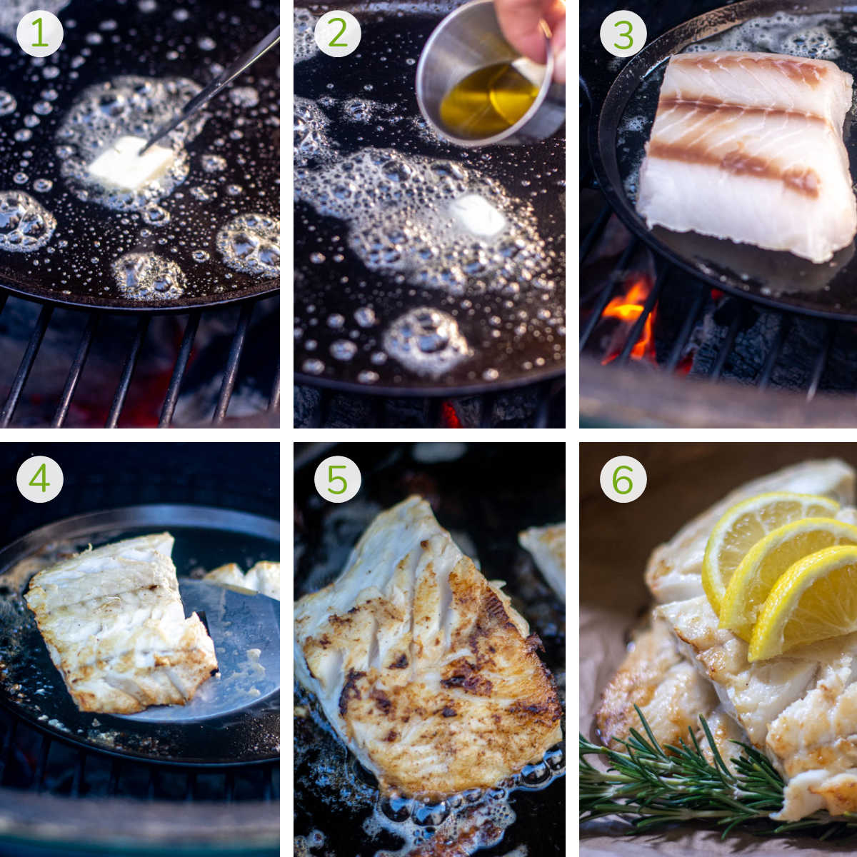 six process shots showing melting butter, adding olive oil, and pan searing a fillet of lingcod with the final photo of it being served with rosemary and lemon.