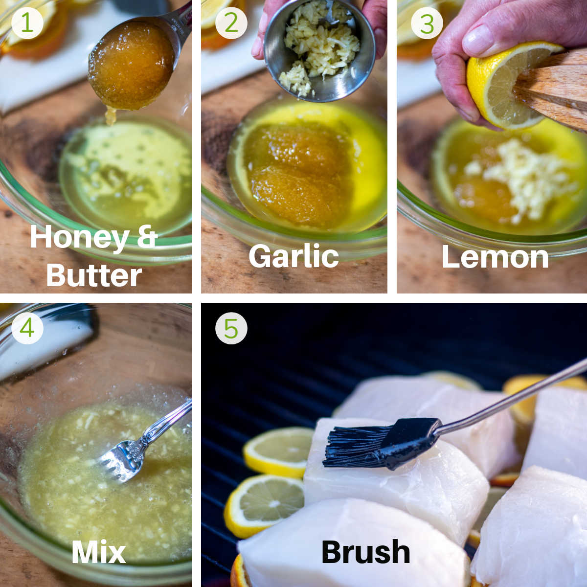 process shots showing how to combine the honey, butter, garlic, lemon and use it as a baste to brush on the halibut fillets.