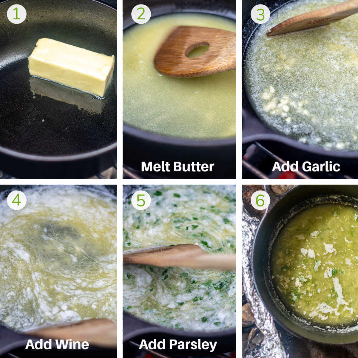 six process shots showing how to make the garlic wine butter for dipping.
