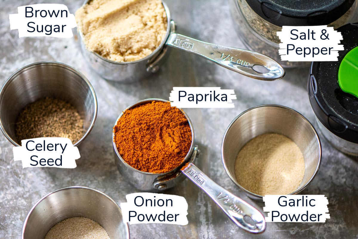 several ingredients found in the pantry to make an all purpose dry rub.
