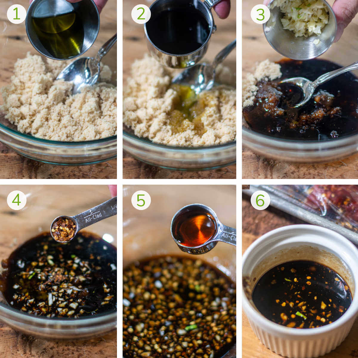 photos showing adding all of the ingredients for the marinade in a glass bowl.