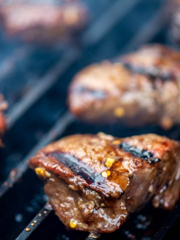 steak tip on the GrillGrate with distinctive sear marks.