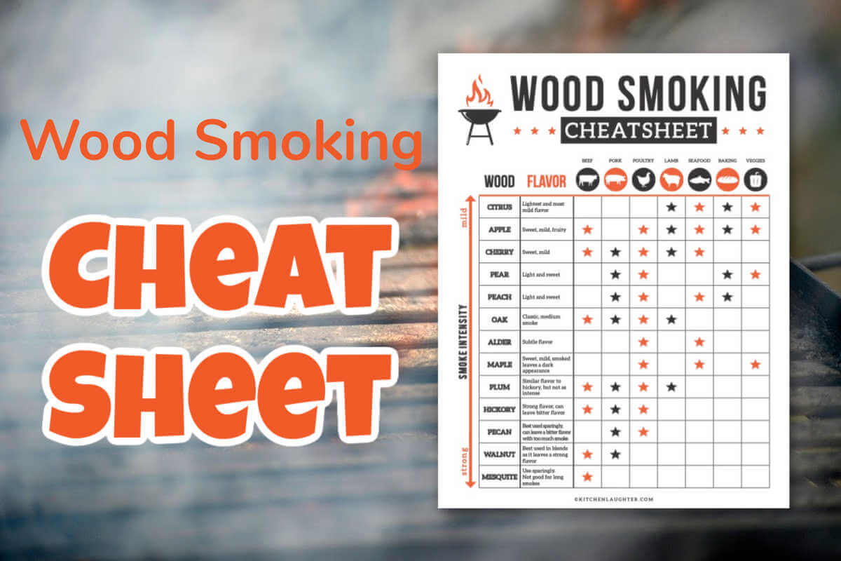 wood smoking cheat sheet on a grill with flame and smoke.